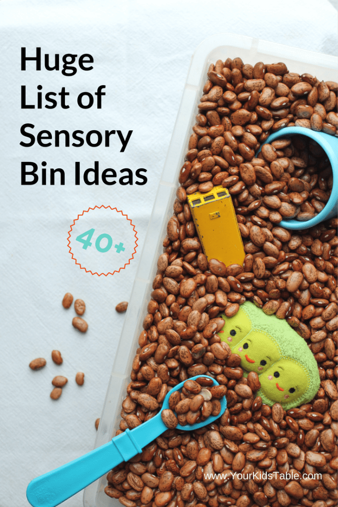 40 plus awesome sensory bin ideas that are perfect for home or school. And, get tips to encourage play and benefits of sensory bins from an OT.