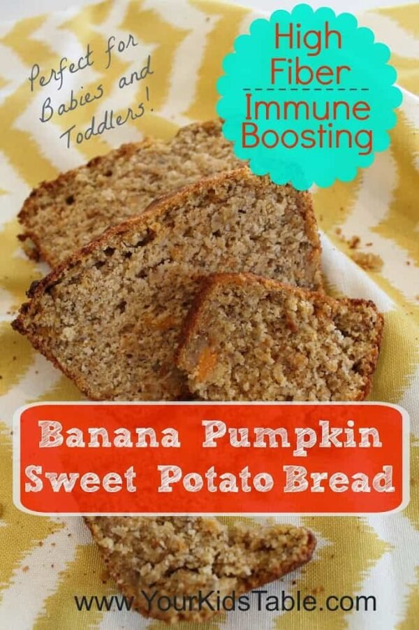 High fiber, immune boosting pumpkin, sweet potato, banana bread. Great for kids and babies/toddlers learning to eat table foods
