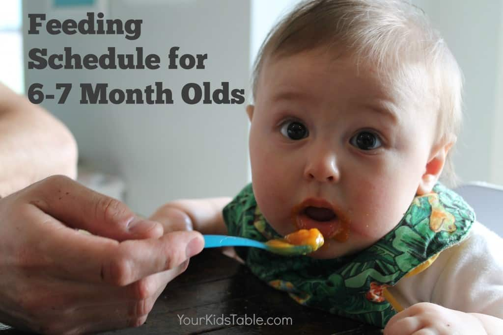 Complete sample feeding schedule for 6 month old babies with helpful tips to use and adjust for your baby through their 7th month. Bonus feeding tips for 6 month olds!