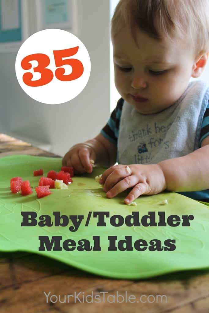 Huge list of toddler and baby meal ideas. Perfect for baby led weaning, transitioning to table foods, or toddlers. Meals the whole family can eat.