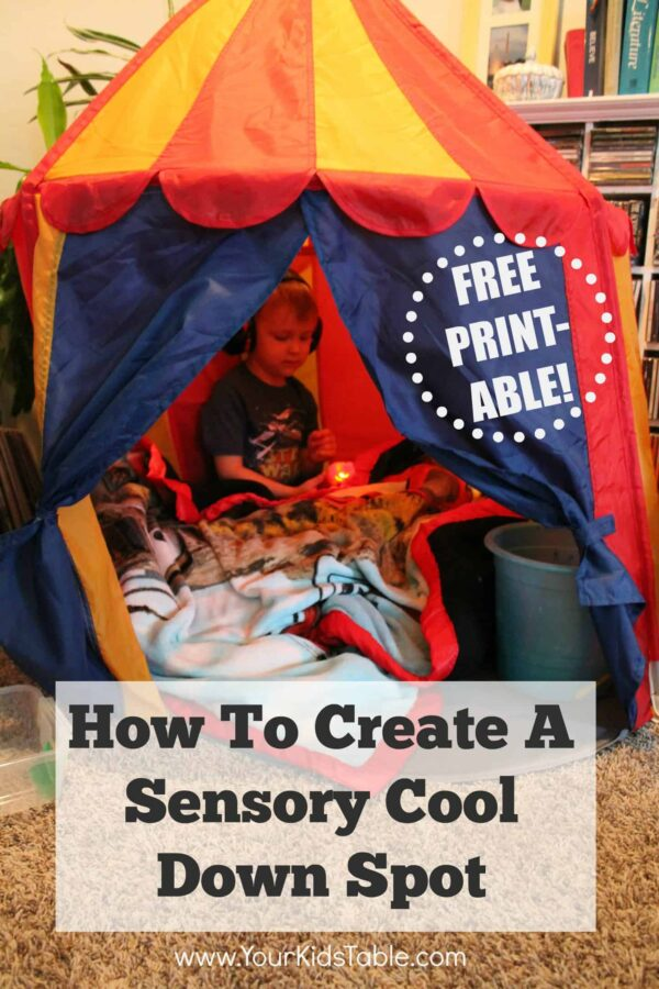 How to create a quick and easy sensory tent. These can be a total game changer to help calm and relax kids. And, grab the free printable instructions.