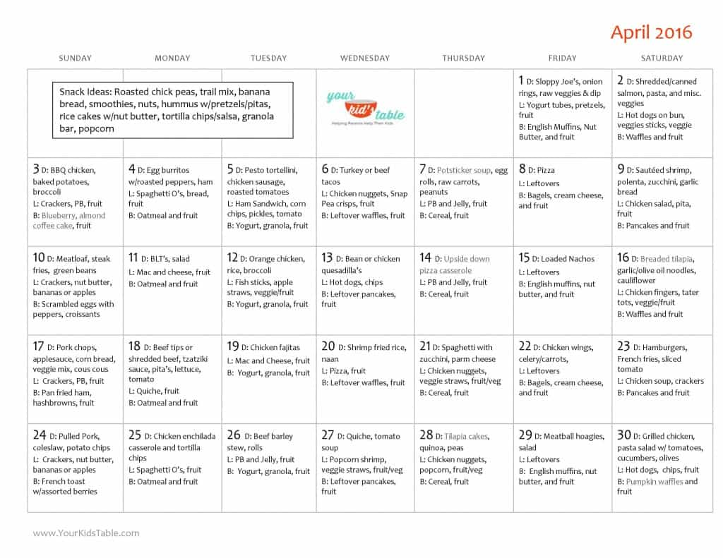 April Monthly Menu Plan