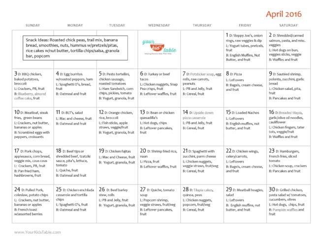 April Monthly Menu Plan