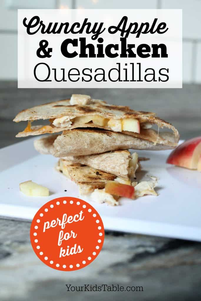 Super easy chicken and apple quesadillas that are perfect for kids. Plus tips to help your picky eater dig in and a mild taco seasoning recipe!