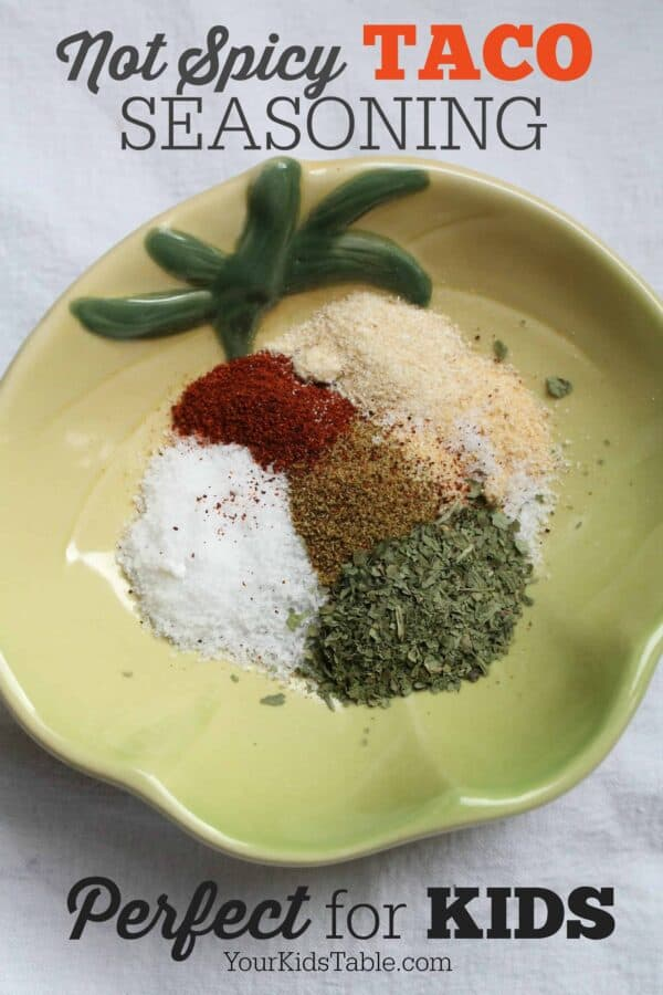 Super easy homemade mild taco seasoning recipe with ingredients you already have in your cupboard with no added preservatives! Easily adjustable recipe. Bonus tips for picky eaters!