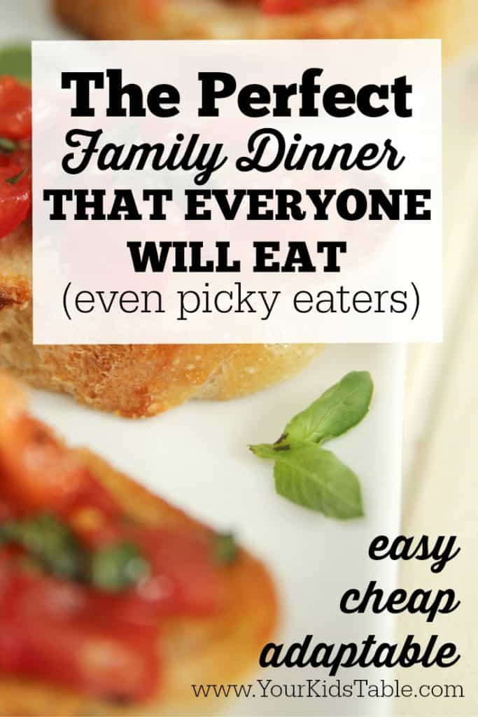 This meal is a life saver because its easy, fun, and cheap. Best of all, you can easily make sure everyone will eat it!
