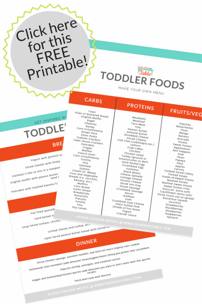 Free easy toddler meal ideas printable! Tons of ideas, that are totally do-able.