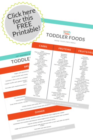 Free toddler meal ideas printable! Tons of ideas, that are totally do-able.