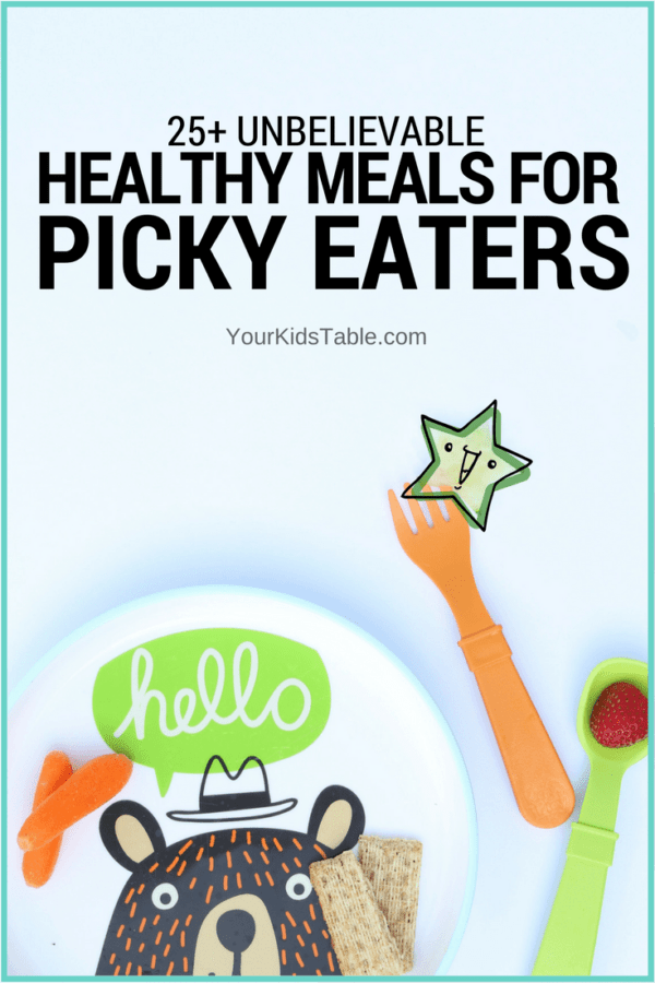 Over 25 healthy meals for picky eaters that the whole family will enjoy. Simple, easy, and totally do-able. Plus, get a free printable and picky eater tips!
