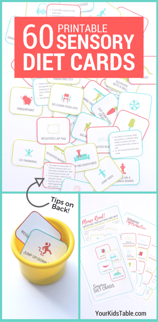 Sensory diet cards are an amazing tool to help kids improve their attention, communication, and more! Learn how to use them and print your own set. #sensoryprocessing #sensoryissues #sensoryfun