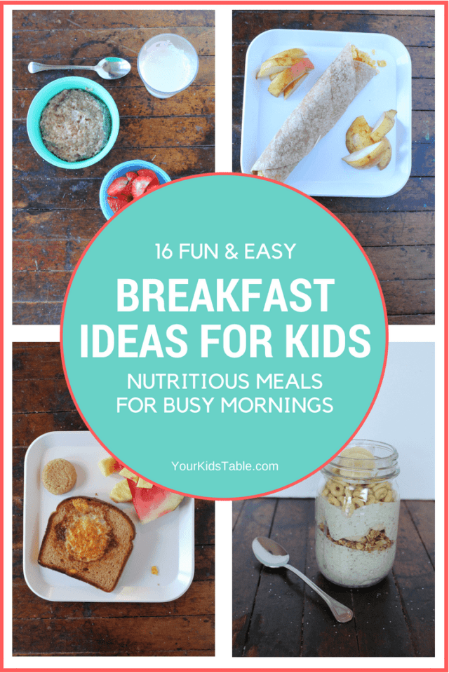 Come get this big list of easy and healthy breakfast ideas for kids that will fill up their tummy. Creative and classic ideas that will pique your child's interest. Plus, tips to help kids eat new breakfast foods, yes even for the picky eater! #recipesforkids #kidsfood #pickyeaters #pickyeating #yourkidstable
