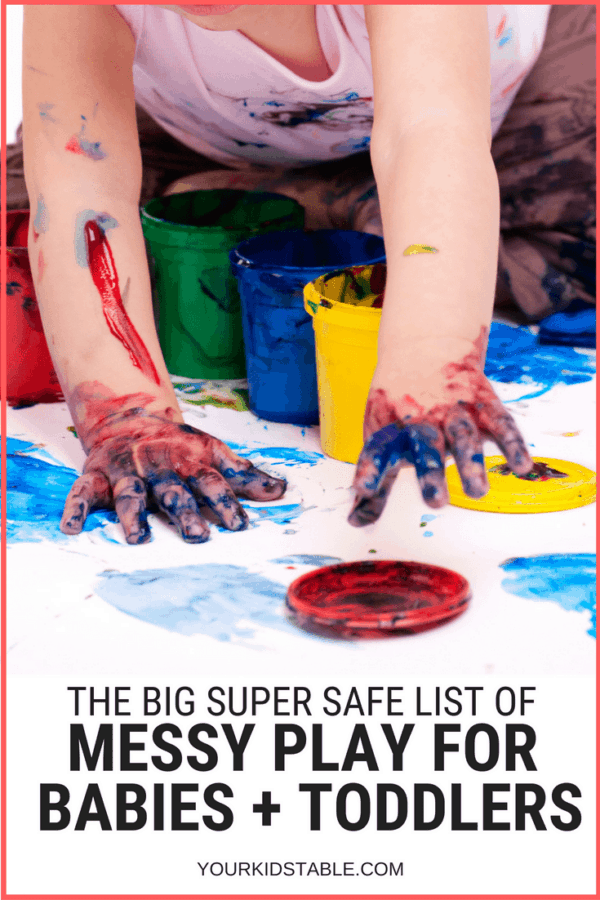 Get over a dozen mess play for babies ideas that are easy to set up and safe for your baby or toddler. Plus learn some sanity saving tips to keep the messy play clean up simple. #momadvice #messyplay #baby #babies #sensoryplay #sensory #toddler #sensoryplayforbabies #parenting