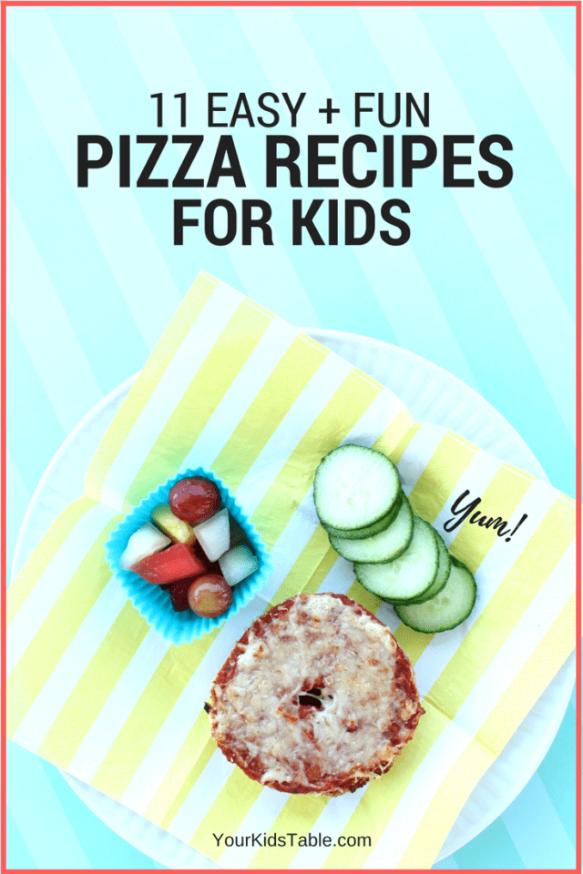 Easy kid's pizza ideas that are quick and fun.  Get more than 10 pizza recipes for kids that are specially designed with them in mind and include ingredients you already have in your fridge! Of course, tips for picky eaters are included. #pizza #pizzarecipes #kidsrecipes #recipeskidscanmake #pickyeating #kids #toddlers #easydinneridea