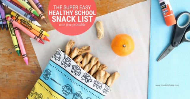 Check out this easy and healthy school snack list with over 20 ideas to send with your child, nut-free included. From preschoolers, kindergartners, or elementary school aged kids and beyond! #momadvice #schoolsnackideas #snacksforkids #kidssnacks #healthysnacks #kids #
