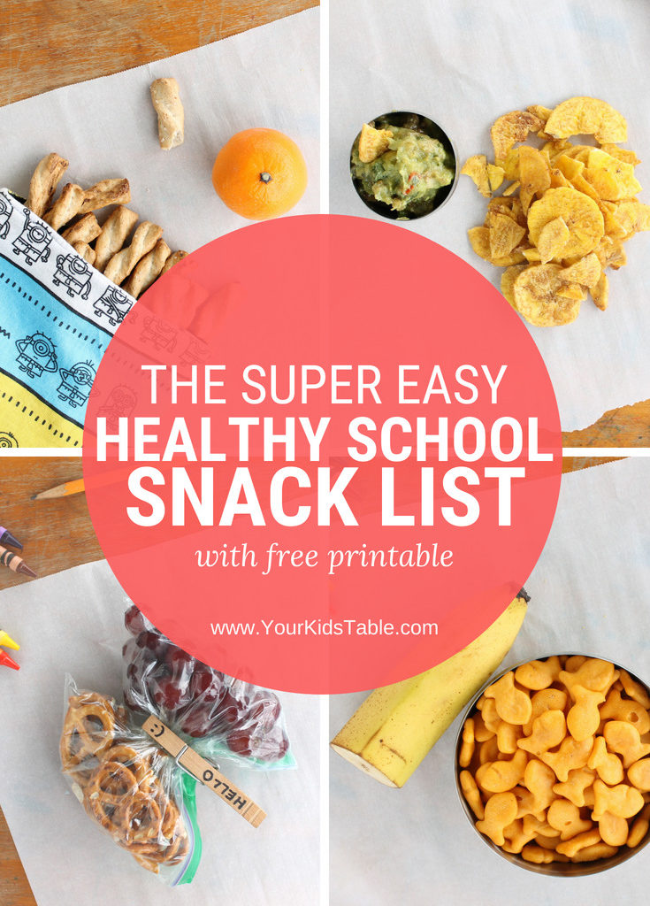 The Super Easy Healthy School Snack List with Printable