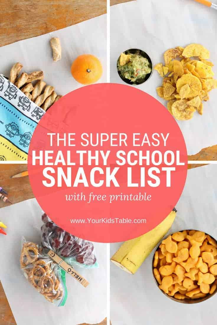 Check out this easy and healthy school snack list with over 20 ideas to send with your child, nut-free included. From preschoolers, kindergartners, or elementary school aged kids and beyond!#momadvice #schoolsnackideas #snacksforkids #kidssnacks #healthysnacks #kids #prek #kindergarten