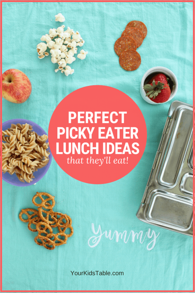 Come get these perfect kid's lunch ideas for picky eaters to eat at school, daycare, or home. You'll get some new ideas and understand why these foods might work for your picky eater. #momadvice #pickyeater #pickyeating #lunchideas