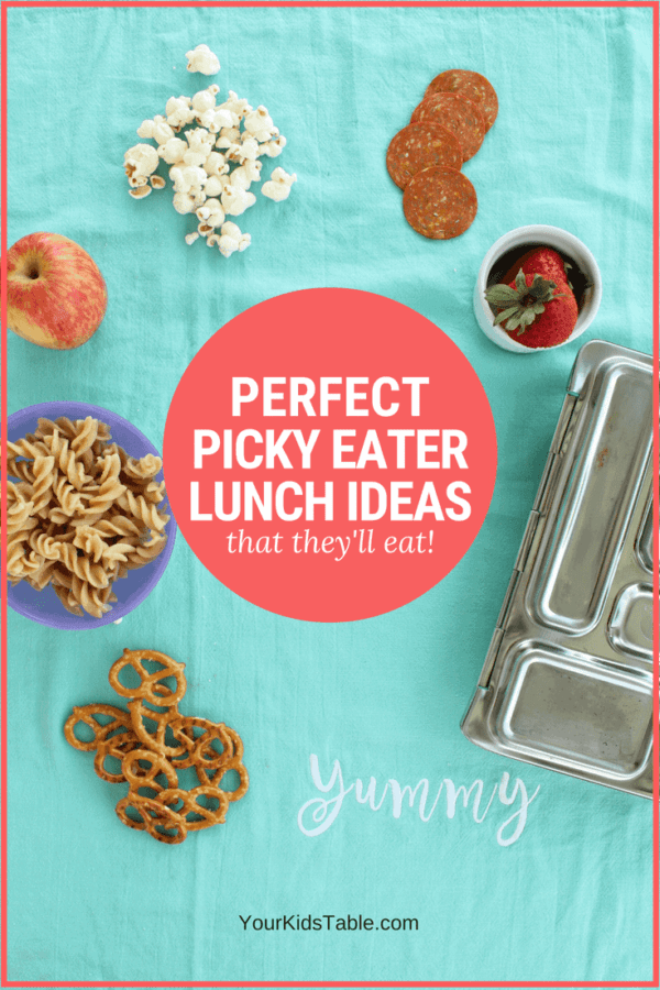Come get these perfect kid's lunch ideas for picky eaters to eat at school, daycare, or home. You'll get some new ideas and understand why these foods might work for your picky eater.#momadvice #pickyeater #pickyeating #lunchideas