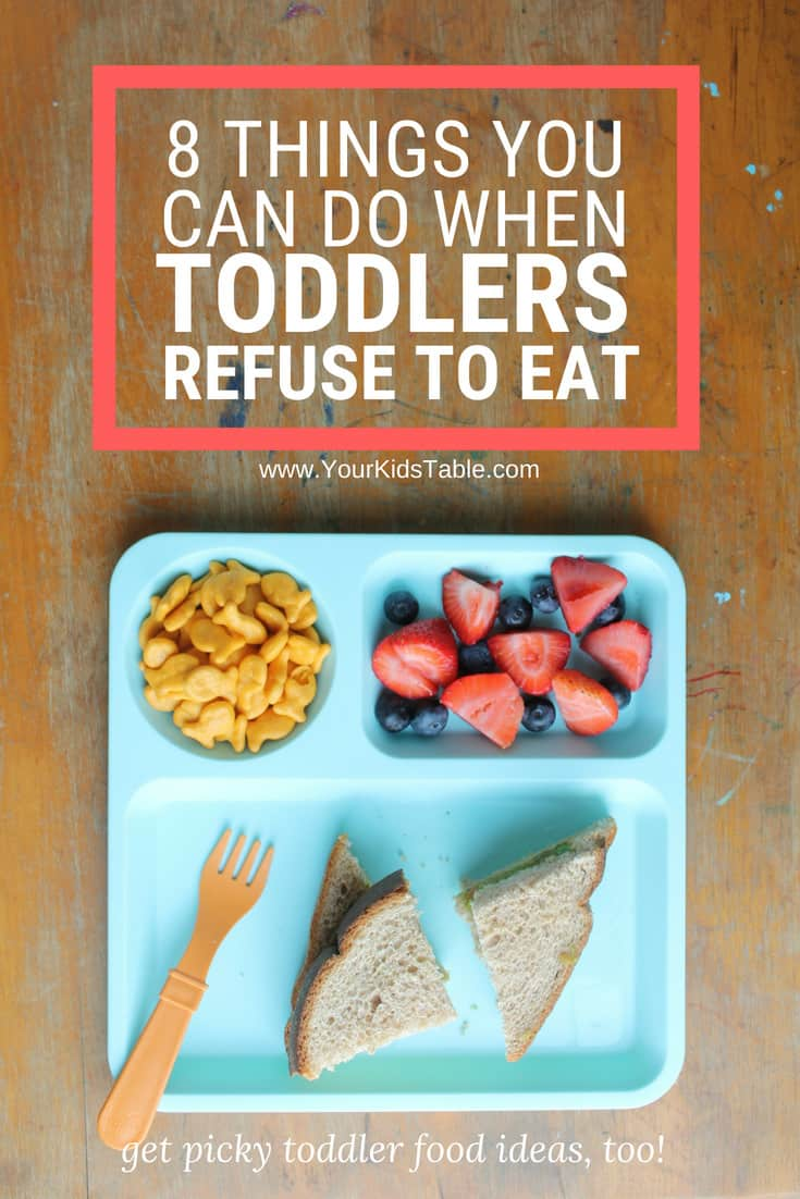 Get real solutions for when a toddler refuses to eat that you can start using today, and learn about why toddler eating habits matter. You'll also find food ideas for picky toddlers inside! #toddler #toddlerrefusestoeat #pickytoddler #toddlerlife #toddlerfoods