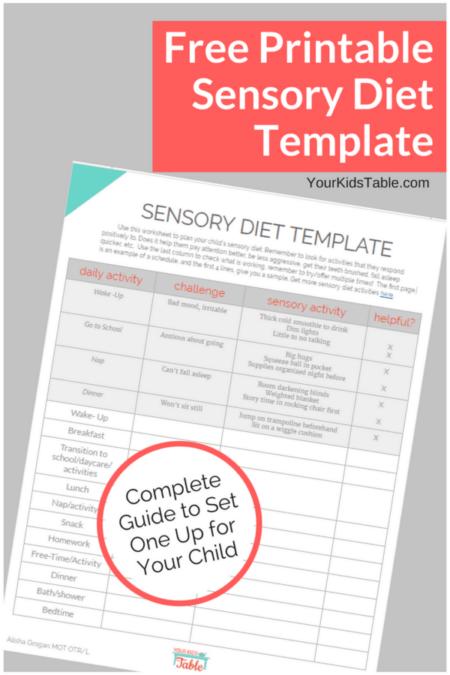 Free Sensory Diet Template Printable