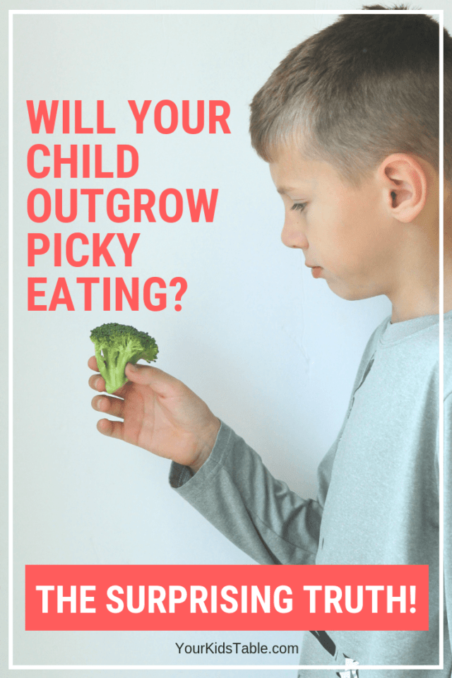 "It's a burning question, ""Do picky eaters grow out of it?"" The answer you may surprise you! Come find out and get some incredible tips for picky eater kids that can help them learn to love mealtime and new foods. #pickyeater #pickyeating #spd #sensory #oralmotor #feeding #feedingtherapy #kids #toddlers #parenting #momadvice"