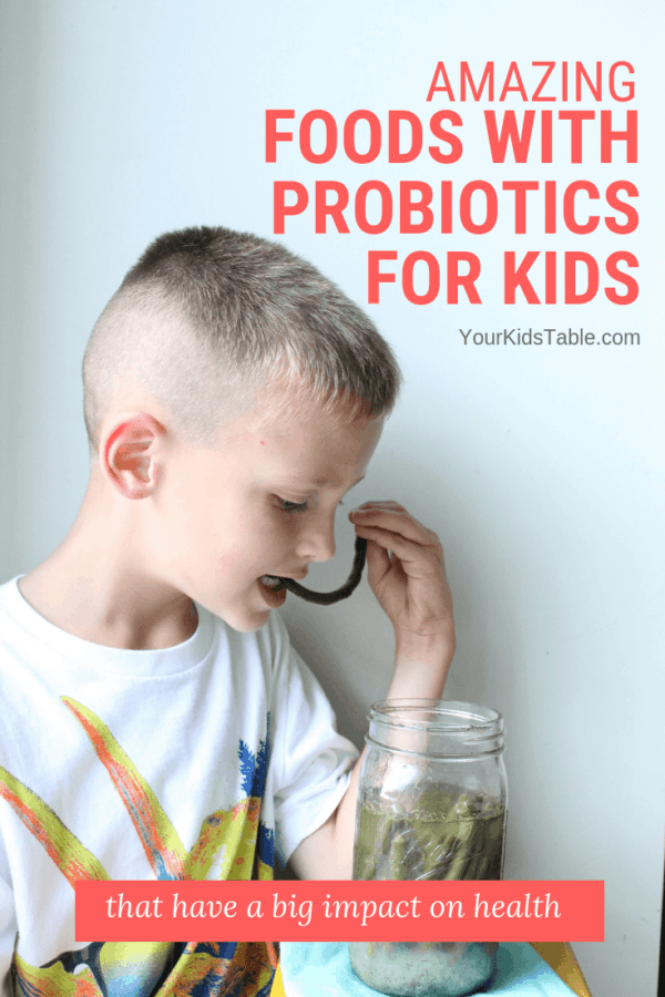 Try these easy foods with probiotics for kids that may have amazing health and behavior benefits! Plus learn how to make your own probiotic rich foods for your child or toddler. #healthykids #healthyfoodsforkids #parentingtips #kidsfood #immuneboosting