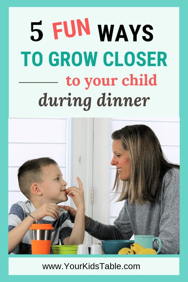 Getting dinner on the table day in and day out can be exhausting, but it's worth it. Check out these benefits to sitting down as a family and learn 5 easy ways to connect even more with your child in the process! #dinnertalk #dinnergames #dinnertimequestions #dinnerwithkids