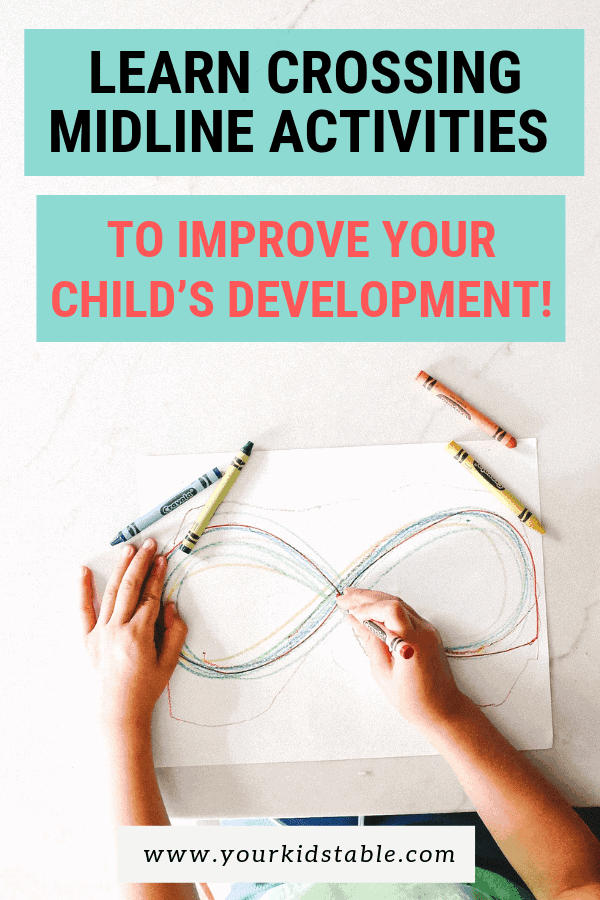 Why you need to know what crossing midline is for your child's development! Plus, 6 therapeutic crossing midline activities you can do at home easily. #crossingmidline #midlineactivities #crossit #crossingmidlineactivities