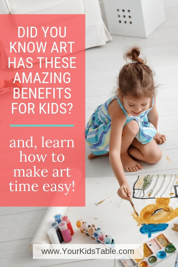 Did you know that art has A LOT of developmental benefits for kids? Learn what they are and how to make art easy and doable in your home! #artfulparent #artmadeeasy #artbenefits #easyart