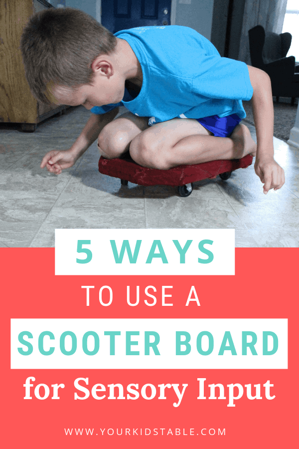 Learn how to use a scooter board to help your child with their sensory needs all while having fun! And, find my top picks and how to DIY a scooter board! #scooterboard #scooterboardactivities #scooterboardactivitiesforkids #DIYscooterboard #scooterboardgames