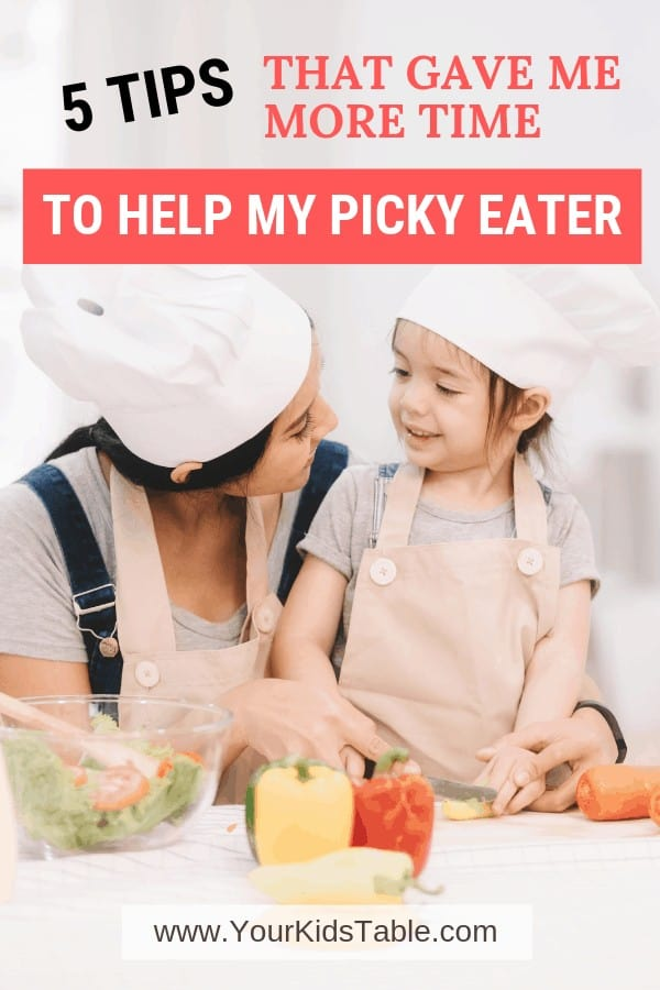 Life is busy and it can be hard to make the time to help picky eaters learn like to new foods. Check out these 5 hacks to make progress with your picky eater do-able. #pickyeating #pickyeater #moretime #helpwithpickyeating