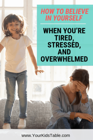 As parents, we often feel totally wiped out and pushed past our limit. How can we help our picky eater when we feel like that? Let me show you how to start believing you can help them learn to eat new foods... #overwhelmed #pickyeating #stressedout #pickyeatingishard #tiredofpickyeating