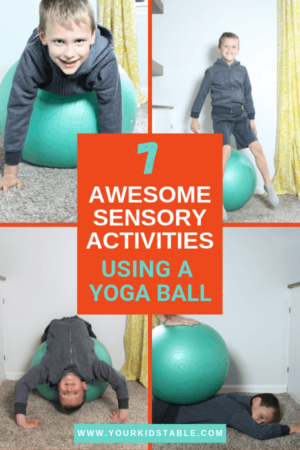 Learn 7 easy ways to use a therapy ball to give your child a ton of sensory input! Plus, get the scoop on what different types of sensory balls are used for.  #therapyballactivitiesforkids #therapyballactivities #therapyball #yogaball #yogaballforkids