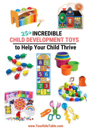 Not all toys are created equal! Come find out my top pics for the best child development toys as a pediatric occupational therapist for all ages of kids from babies to toddlers to preschoolers to school aged children. Get the most out of the toys you give your child.
