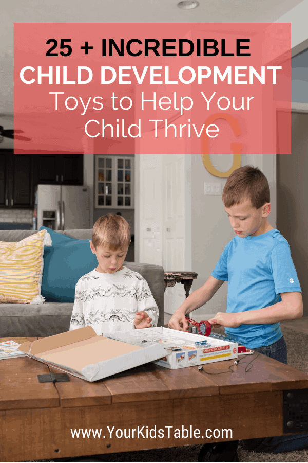 Not all toys are created equal! Come find out my top pics for the best child development toys as a pediatric occupational therapist for all ages of kids from babies to toddlers to preschoolers to school aged children. Get the most out of the toys you give your child. #childdevelopment #childevelopmenttoys #developmetntoys #learningtoys