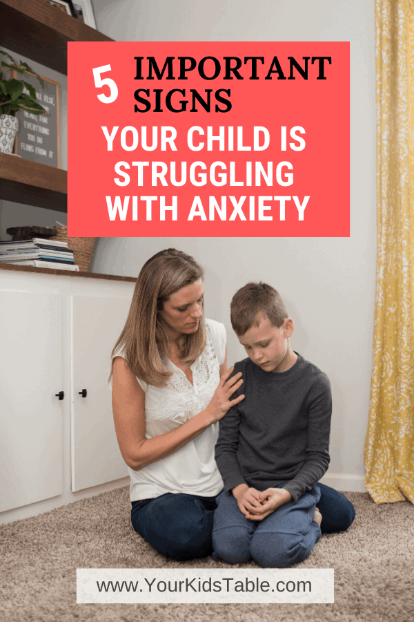 Could your child be anxious? Here are 5 signs of anxiety in children from an expert, to make sure you don't miss them, and then what the next steps are that you can take to help your anxious child. #childanxiety #anxiety #anxioustoddlers #anxietysignsinchildren