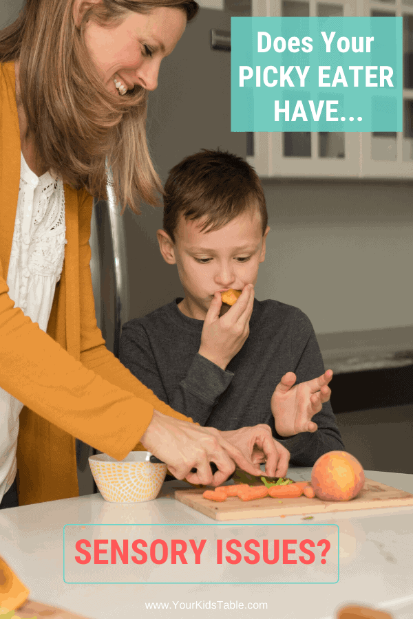 Many picky eaters are selective about textures because of their sensory processing, but is sensory affecting other areas of their life? Find out if it is and what you can do today to help them... #pickyeating #pickyeater #sensoryissuespickyeating #sensorypickyeating