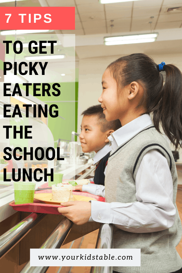 It's such a bummer when picky eaters won't eat the school lunch! But, it's possible for your picky eating kiddo to learn to eat the lunch that's provided. Check out these 7 tips to learn how.... #schoollunches #eattheschoollunch #buyschoollunches
