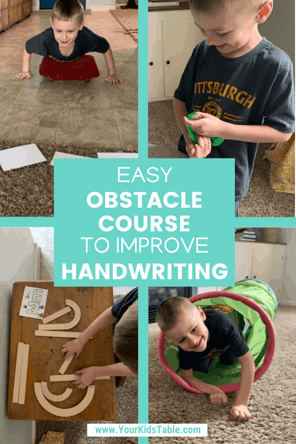 Does your child need some help with their handwriting, fine motor, and letter recognition skills? These 6 activities that can be used alone or in an obstacle course are perfect for preschool and kindergarten age kids, and are easily adapted for older kids too!  #improvehandwriting #improvekidshandwriting #kidshandwriting #kidshandwritingpractice