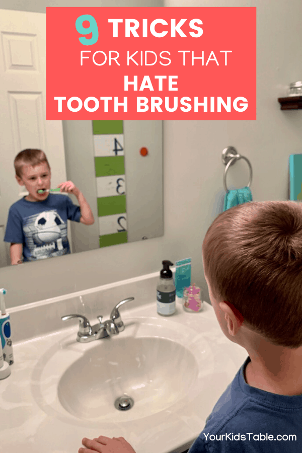 "I hear from parents all the time, ""Help, my child won't brush her teeth!""  Discover why and get 9 powerful tips to help your child move past the refusals, battles, and tantrums quick. Affiliate links used below. #toothbrushingactivitiesforkids #brushteeth #brushteethkids #kidsteethbrushing"