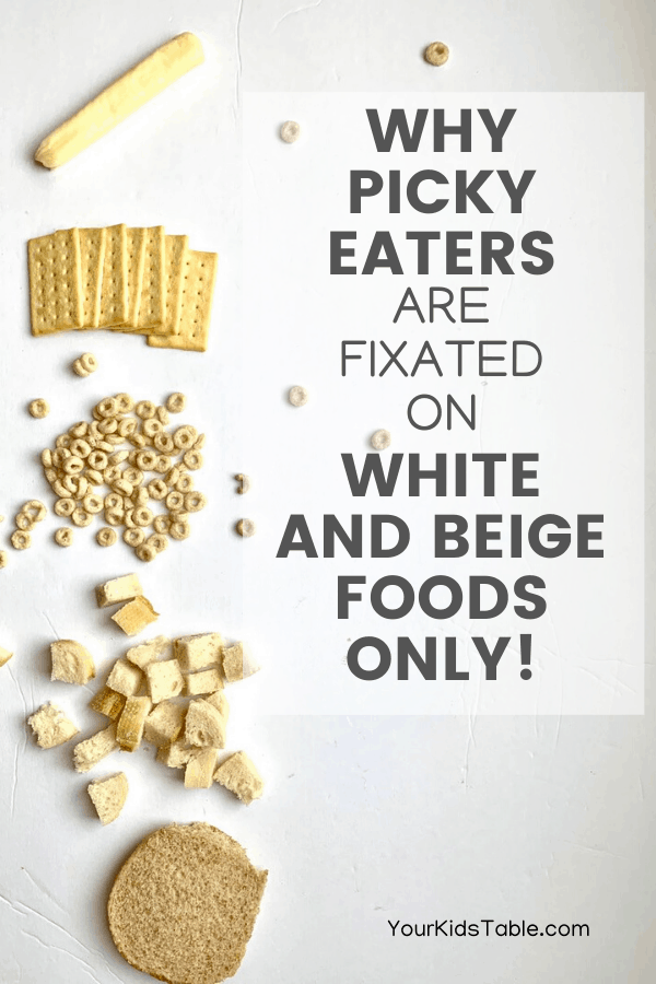 It might seem strange, but it's common for picky eaters to eat only white or beige foods and refuse most other colors of food. But, there's a good reason why and ways to get them eating more colors of the rainbow... #pickyeaters #pickyeaterkids #onecolorfood #foodinonecolor