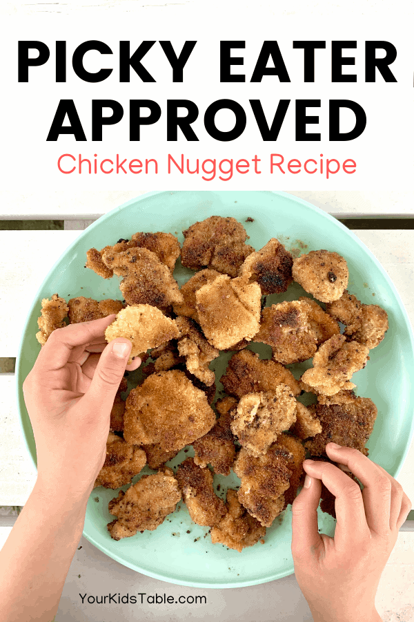 Want your picky eater to eat meat or chicken? I've used this recipe to get my own kids, and many others, eating meat because of a special, but easy, technique. Find out what it is and the best way to serve your picky eater. #chickennuggets #chickennuggetrecipes #kidschicken #kidschickendinnerideas