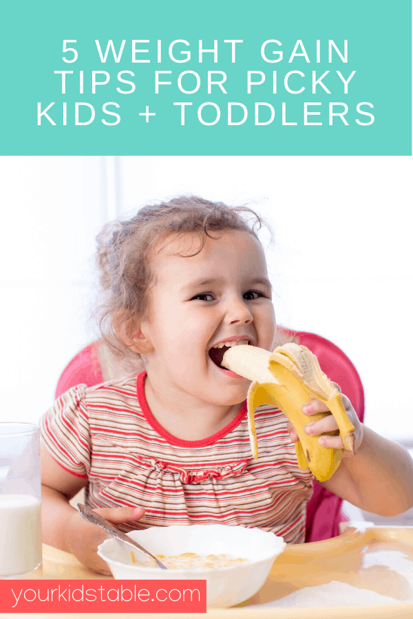 Learn 5 ways to safely increase weight gain for kids. A must read for parents of picky eaters or babies and toddlers that are refusing food. Get weight gain recipes and high calorie ingredients too! #kidsweightgaintips #helpkidsgainweighttips #howtogetkidstogainweighttips #tipstogainweightforkids #weightgainmealsforkidstips