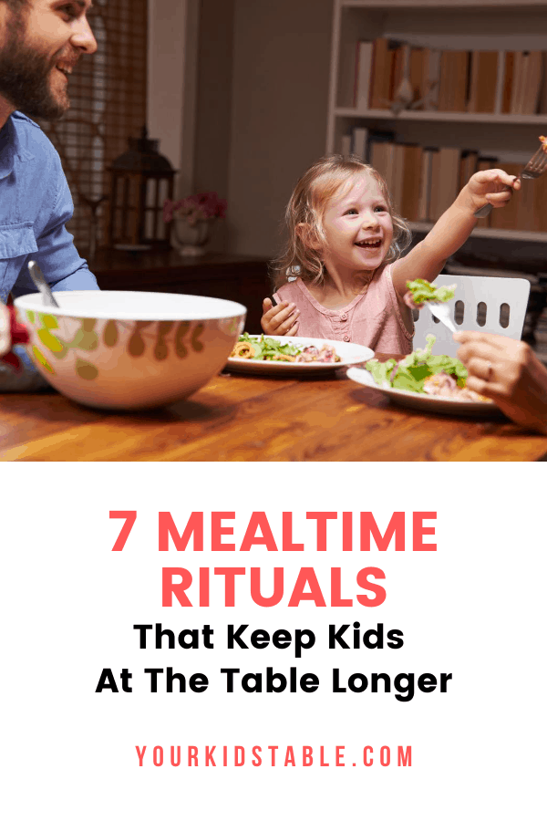 Get 7 simple ways to help keep your child seated at the table longer so they stop getting up or only eat for a few minutes! Don't miss this if you've got a busy toddler or a picky eater.  #mealtimeroutine #mealtimeroutineforkids #mealtimerules #mealtimerulesforkids