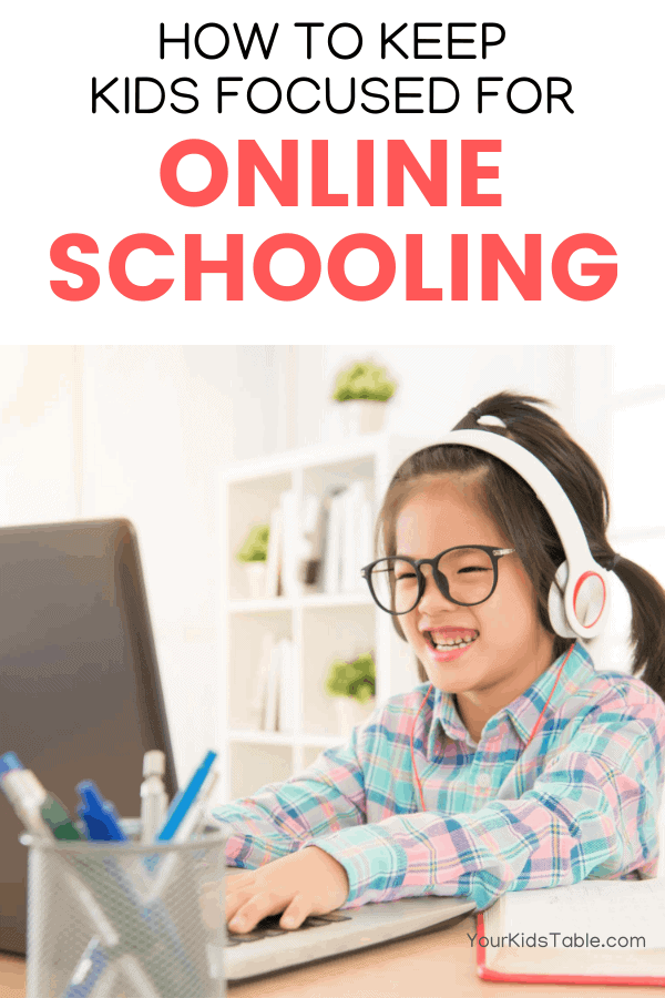 It can be a challenge to keep kids focused on learning online with all the distractions in a home environment. But, with some simple tricks, tools, and strategies, you can teach your child how to focus on online school while improving their attention and concentration! #howtostayfocusedononlineschool #howtofocusononlineschool #onlineschoolforkids #onlineschooltips #onlineschooltipsforkids #onlineschoolorganizationforkids