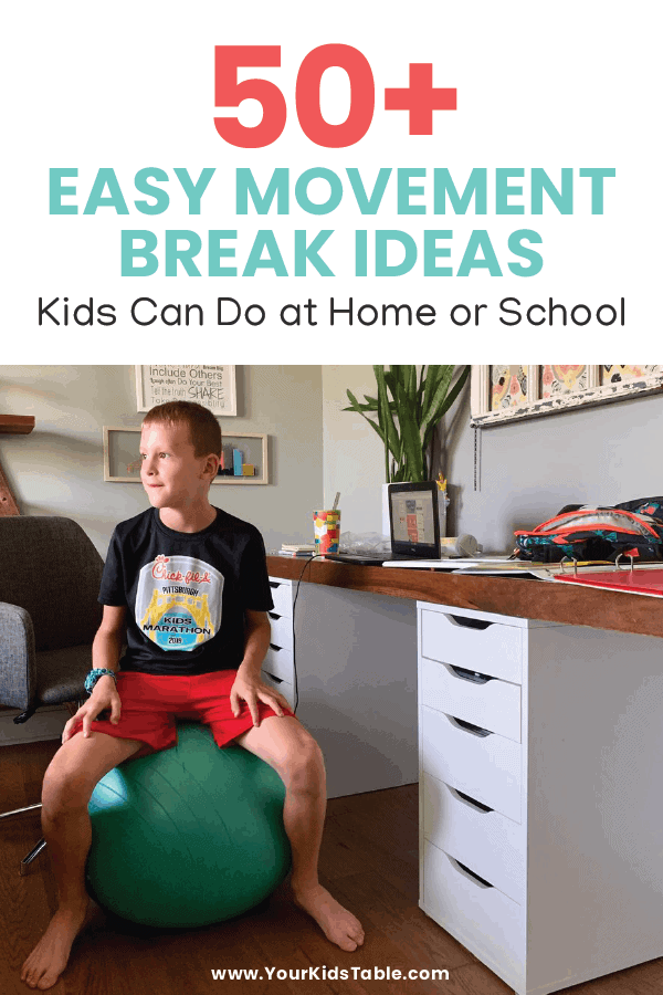 Research shows that kids learn, attend, and follow directions better with movement. Get your kid moving with these 50+ movement break ideas for kids that are perfect for online learning at home or in a traditional classroom. #movementactivitesforkids #movementbreaksforkids #movementactivities #movementbreaks #movementbreaksintheclassroom