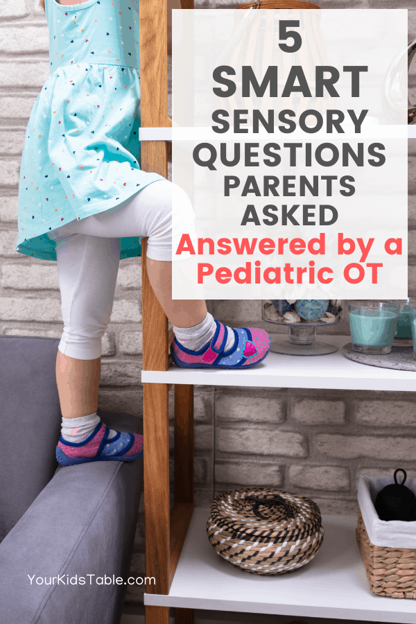 Learn what to do when your child has a hard time falling asleep, won't eat certain textures, what to do when your child is always on the go, and more help for parents who's kids have sensory needs. #sensoryquestions #sensoryplayquestions #sensoryparentingquestions