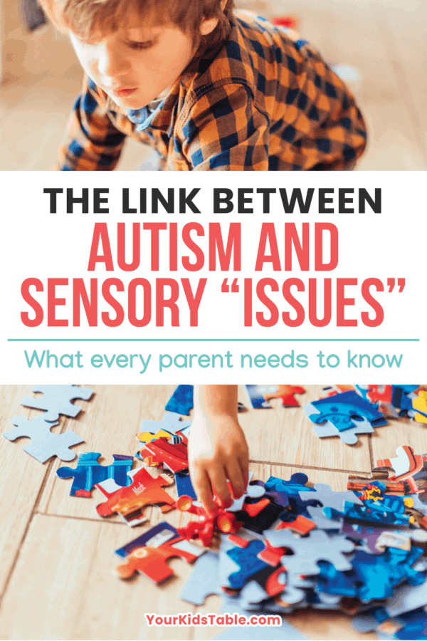 As a pediatric OT, I'm always surprised at how many parents of kids with Autism (ASD) haven't been told about the big link to sensory processing. Read on to learn about this important connection... #sensoryautismsymptoms #sensoryautism