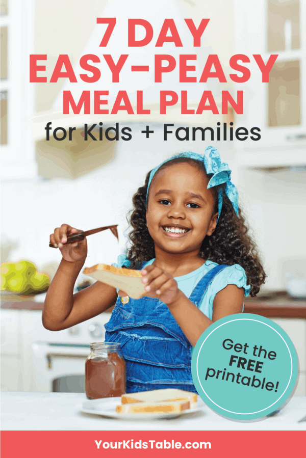Want a 7-day meal plan for kids that includes meals for breakfast, lunch, snack, and dinner time? Find these easy, do-able, and healthy recipes inside that are perfect for the whole family! #mealplanforkids #menuplanforkids #mealplan