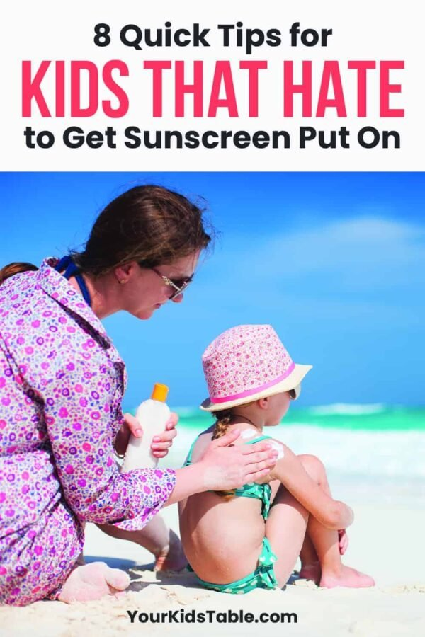 Does your kid run away or freak out when it's time to put on sunscreen? Grab these 8 quick tips that can help your child to tolerate sunscreen without any tears.  Save your sanity this summer! #childhatessunscreen #childsunscreen #sunscreenonkids